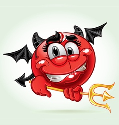 Cheerful smile in costume devil with a pitchfork vector