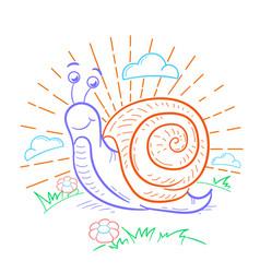 A snail that crawls linear vector