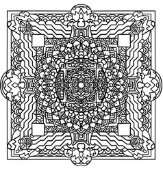 abstract mandala ornament asian pattern black vector image