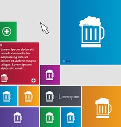Beer glass icon sign buttons modern interface vector