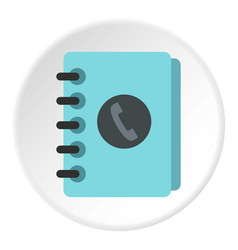 Blue address book icon circle vector