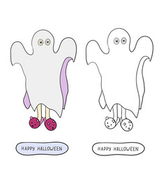 Cartoon ghost in badspread on white background vector
