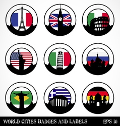 Cities Badges and Labels vector image vector image