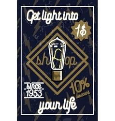Color vintage lighting shop poster vector
