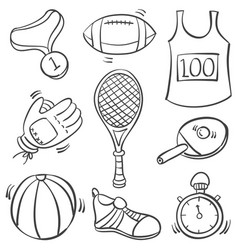 Doodle of sport equipment object collection vector