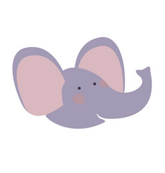 elephant cartoon head colorful silhouette in white vector image