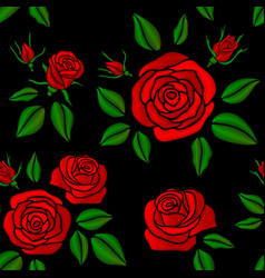 embroidered red rose flowers vintage vector image