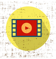 Film movie strip with play retro icon with vector