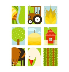 Flat Childish Rectangular Agriculture Farm Set vector image vector image