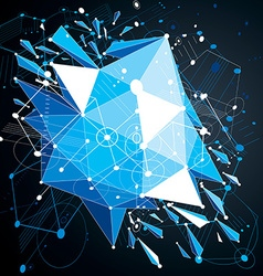 Geometric bauhaus 3d blue background with low poly vector