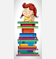 girl and stack of books vector image