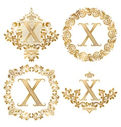 Golden x letter vintage monograms set heraldic vector