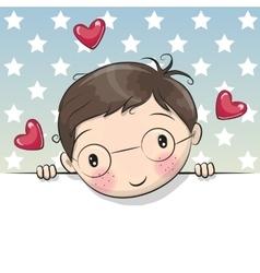 Greeting card cute cartoon boy with placard vector