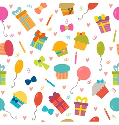 Happy Birthday seamless pattern with hearts vector image vector image