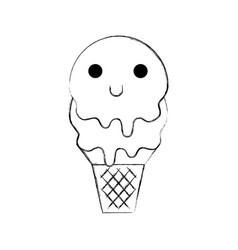 Kawaii sweet ice cream cold flavor fresh vector