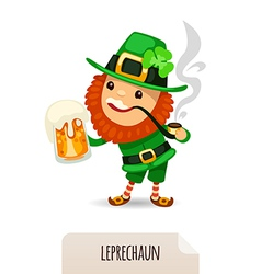 leprechaun with a beer smokes a pipe vector image vector image