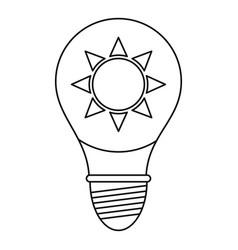 Light bulb with sun inside icon outline vector