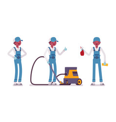Male janitor standing with vacuum cleaner vector