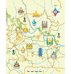 Map of the country with religious landmarks vector