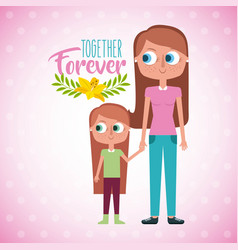 Mother and daugther holds hand together forever vector