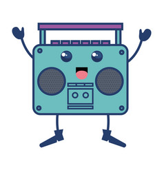 Old music player kawaii character vector