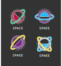 Outline globe icon Space logo Business concept vector image vector image
