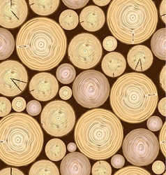 Pattern cut logs of wood on brown background vector image