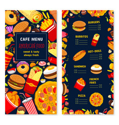 Price menu template of fast food restaurant vector
