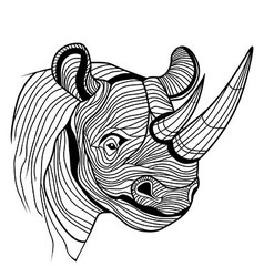 Rhino rhinoceros animal head vector