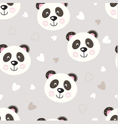 Seamless pattern with cute panda vector