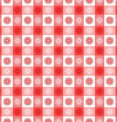 Seamless red gingham with floral pattern vector image