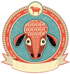 sheep head label vector image