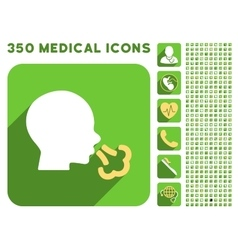 Sneezing icon and medical longshadow icon set vector