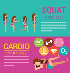 Squat and Cardio exercises banner vector image