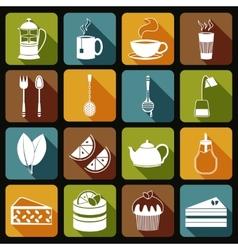 Tea Icons Set Flat vector image vector image