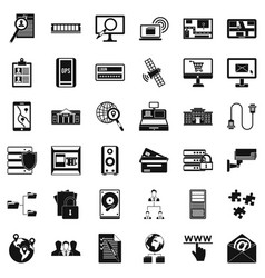 Technology icons set simple style vector