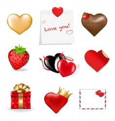 valentines day icons collection vector image vector image