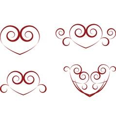 vintage heart symbols vector image vector image