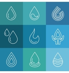 Water linear symbols vector image