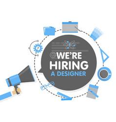 We hire a designer megaphone concept vector