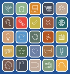Web line flat icons on blue background vector