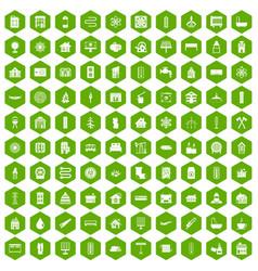 100 heating icons hexagon green vector