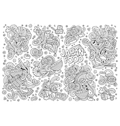 Doodle set of japan food objects vector
