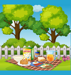 Picnic in garden in the morning vector