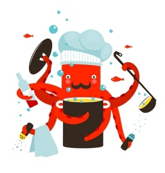 Red octopus chef cooking food vector