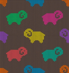 Seamless knitted pattern with sheep vector