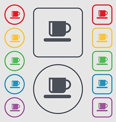 Coffee cup icon sign symbol on the round and vector