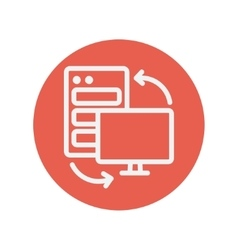 Personal computer set CPU thin line icon vector image
