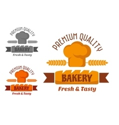 Brown and yellow bakery emblem vector