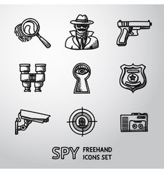 Set of spy handdrawn icons - fingerprint spy gun vector